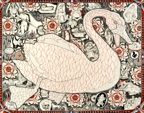 Swan, 2013, Pen and ink on paper, 19 x 24 inches. Courtesy the artist.