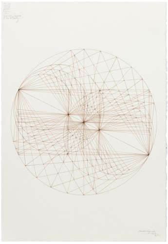 """Mark Reynolds - """"Thales Series: ATROTW, The Double Square, 1.29.19,"""" 2019, Ink on cotton paper, 22 x 15 inches"""