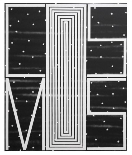 """John Phillip Abbott - """"Black Cosmos with Stars,"""" 2015, Spray paint and gesso on canvas, 36 x 30 inches"""
