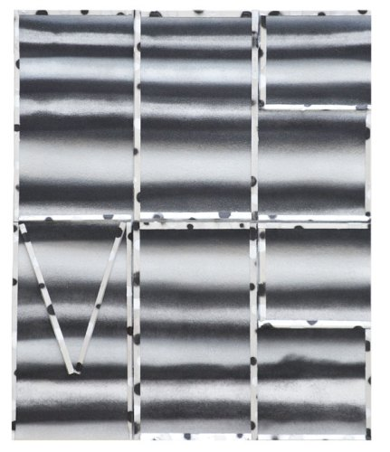 Silver/Black Cosmos - 2015, Spray paint, acrylic and wood on canvas, 36 x 30 inches