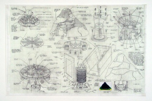 """Justin Amrhein - """"Replacement Tree (Yew),"""" 2012, Graphite and collage on graph paper, 22 x 33.25 inches"""