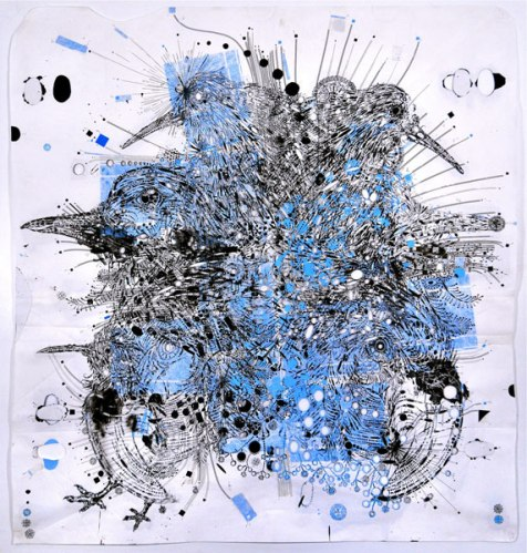 """Reed Anderson - """"Cloudsplitter,"""" 2009, Acrylic, airbrush, silkscreen and collage on cut paper, 111 x 99 inches"""