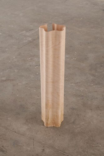 Tim Bearse - pleats & folds, pleasantly low, 2009, maple, resin, grass stains, 8 x 32 x 8 inches