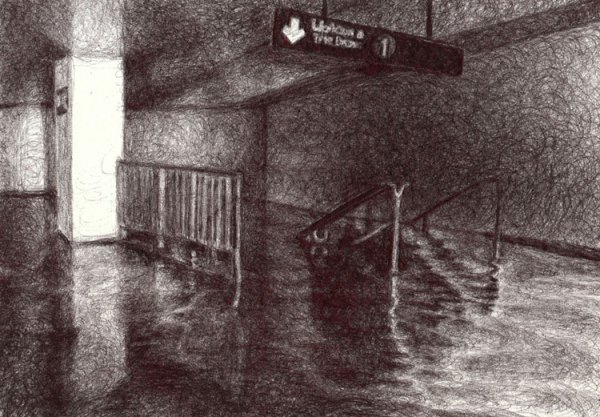 "Colleen Blackard, ""South Ferry + Whitehall Subway Stop,"" 2012, Ballpoint pen ink on paper, 5 x 7 inches"