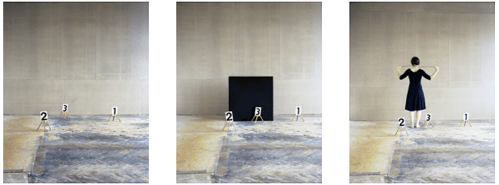 """Nadja Bournonville - """"Some Marks, a Square and a Figure #2,"""" (Triptych), Berlin 2012, Analogue C-print, Ed.3, 29.1 x 23.2 inches"""