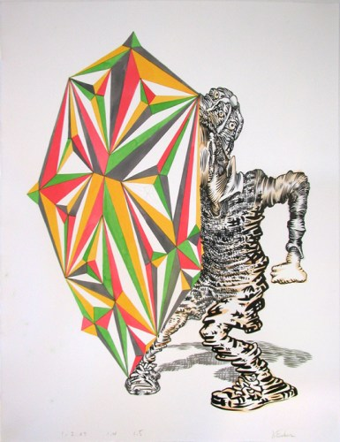 """James Esber - """"Untitled (Starboy),"""" 2009, Ink and acrylic on paper, 23 x 16.25 inches"""