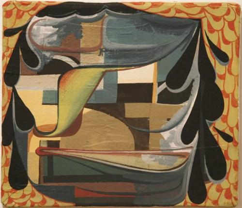 Four Traits - 2010, Oil paint on cast plastic, 12 1/2 x 14 1/2 inch