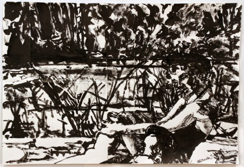 Angela Vickers and George Eastman (A Place in the Sun, 1951) - 2010, Sumi ink on paper, 17 x 25 inches