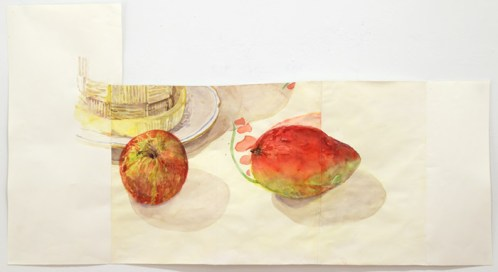 """Dawn Clements - """"Apple and Mango,"""" 2014, Watercolor on paper, 23 x 42 inches"""