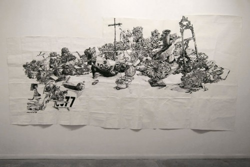 Dawn Clements - Untitled (B & W Table), 2010, Sumi ink on paper, 83 x 156 inches