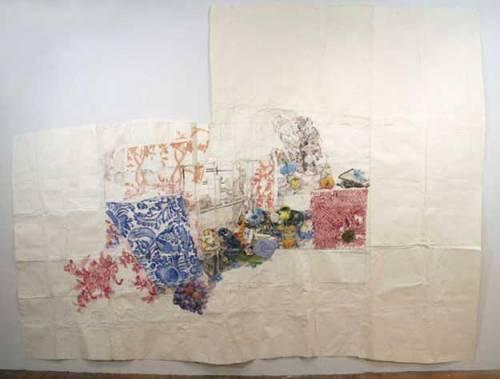 My bed pleins d'odeurs legères - 2007, Gouache, Ballpoint Pen Ink, Graphite, on Paper, 119 x 166.5 inches