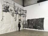 """Dawn Clements - """"Boiler,"""" 2010, Sumi ink on paper, Approximately 217 x 460 inches. Installation view at Mana Contemporary NJ"""