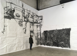 """Dawn Clements - """"Boiler,"""" Installation view Mana Contemporary NJ, May 2021"""