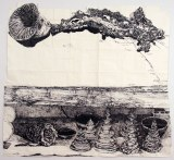 Marc Leuthold's Sculptures (Branch, pagodas, bowls, horn and spool) - 2011, sumi ink on paper, 79.5 x 72 inches