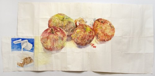 "Dawn Clements - ""Candy Bar and Apples,"" 2012, Watercolor on paper, 36.5 x 79 inches"