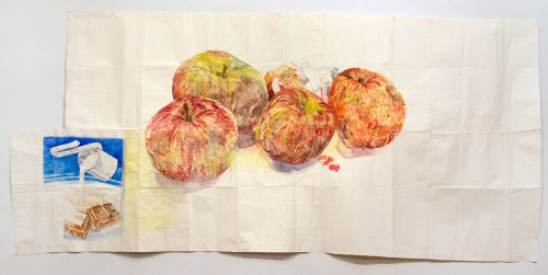 "Dawn Clements - ""Candy Bar and Apples,"" 2012, Watercolor on paper,"