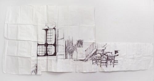 Library (Civitella Ranieri) - 2013, Ballpoint pen ink on paper, 47 x 106 inches