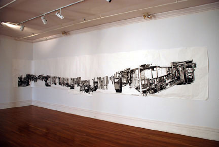 First Class (Night to Remember, 1959) - 2007, Sumi Ink on Paper, 66 x 396 inches