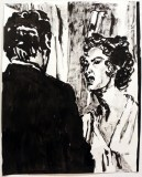 Guido and Lina (L'angelo bianco, 1955) - 2014, Sumi ink on paper, 12.25 x 10 inches