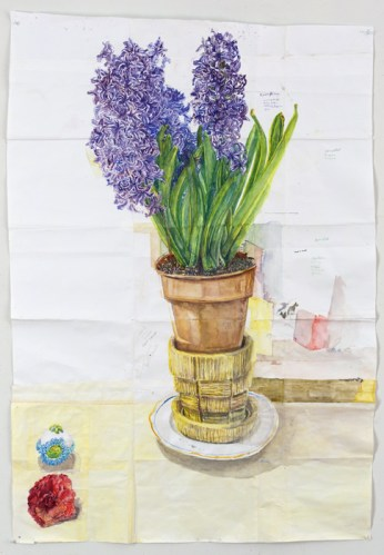 "Dawn Clements - ""Hyacinth, Camellia, and Sugar Egg,"" 2014, Watercolor on paper, 62.5 x 44 inches"