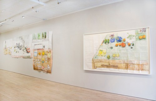 "Dawn Clements - Installation view, ""Tables and pills and things,"" Pierogi"