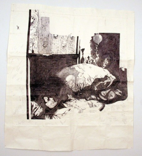 Dawn Clements - Jessica Drummond in Bed (My Reputation, 1946), 2012, Ballpoint pen ink on paper, 66.5 x 60.5 inches