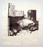 """Dawn Clements - """"Jessica Drummond in Bed (My Reputation, 1946),"""" 2012, ballpoint pen ink on paper, 60.5 x 66.5 inches"""