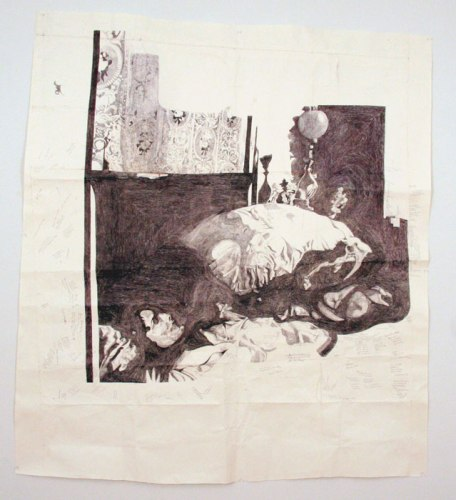 Dawn Clements - Jessica Drummond in Bed (My Reputation, 1946), 2012, ballpoint pen ink on paper, 60.5 x 66.5 inches