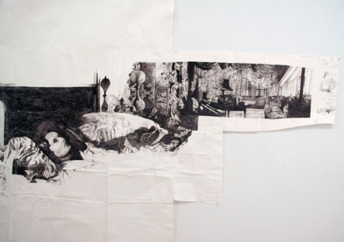 """Dawn Clements - """"Mrs. Jessica Drummond's (My Reputation, 1946),"""" Detail, 2010, Ballpoint Pen Ink on Paper, Approximately 87.5 x 240 inches"""