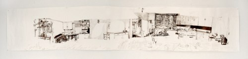 Jessica Drummonds Kitchen (My Reputation, 1945) - 2011-2015, Ballpoint pen ink on paper, Approx. 112 x 21 inches