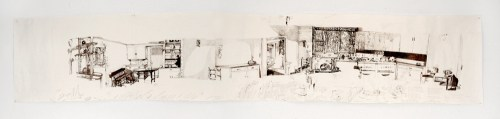"Dawn Clements - ""Jessica Drummond's Kitchen,"" 2011-2015, Ballpoint pen ink on paper, Approx. 112 x 21 inches"
