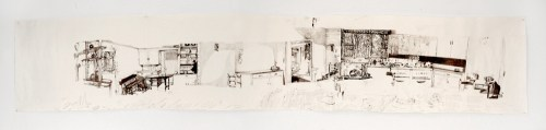 """Dawn Clements - """"Jessica Drummond's Kitchen (My Reputation, 1946),"""" 2011-2015, Ballpoint pen ink on paper, Approx. 112 x 21 inches"""