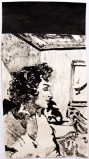 Lina (L'angelo bianco, 1955) (small) - 2014, Sumi ink on paper, 19 x 10 inches