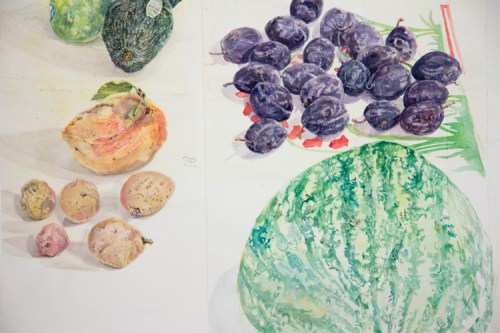 "ClementsMelon2017Dtl - Detail: ""Fruit,"" 2015, Watercolor on paper, 64.5 x 76.5 inches. Sold."