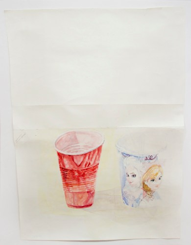 """Dawn Clements - """"Party Cups,"""" 2015, Watercolor on paper, 41.75 x 28.5 inches"""