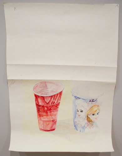 "Dawn Clements - ""Party Cups,"" 2015, Watercolor on paper, 41.75 x 28.5 inches"