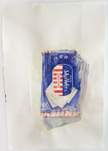 """Dawn Clements - """"Untitled (Skyflakes),""""2014, Watercolor on paper, 30 x 21.5 inches. Sold"""