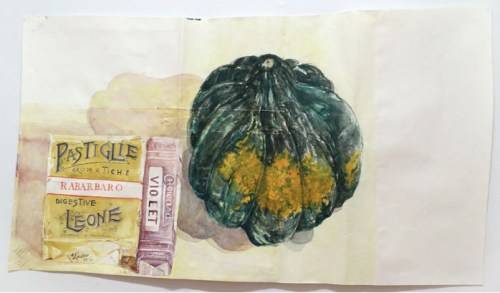 Untitled (Squash) - 2014, Watercolor on paper, 22 x 40 inches. Sold