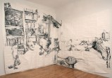 """Dawn Clements - """"Susan Rethorst's,"""" 2011, Sumi ink on paper, 230 x 120 inches (Installation view)"""