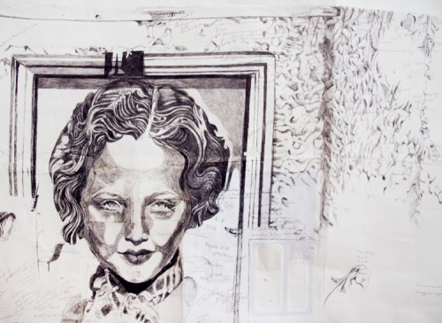 """Dawn Clements - Detail: """"Sylvia Sidney On My Kitchen Wall,"""" 2015, Ballpoint pen ink on paper, 42.75 x 42 inches"""