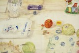 """Dawn Clements - """"Table (MacDowell), Detail,"""" 2015, Watercolor on paper, 81x 99 inches. Sold"""