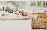 """Clements - Detail:  """"Three Tables in Rome,"""" 2017, Watercolor on paper, 85 x 248.5 inches Photo: John Berens"""