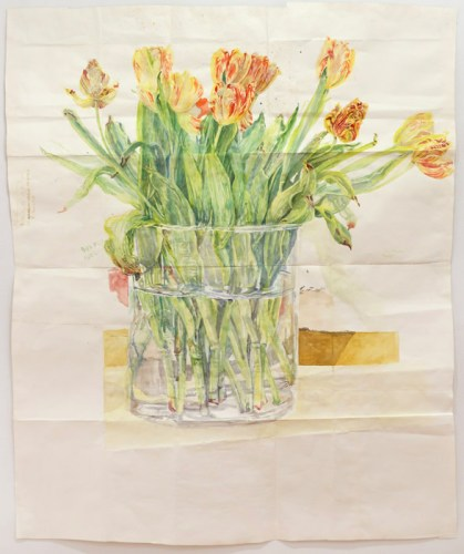 "Dawn Clements - ""Tulips,"" 2014, Watercolor on paper, 65 x 53 inches. Sold"