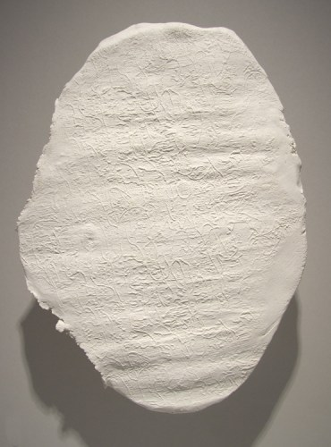 """Brian Conley - """"Tablet 1,"""" 2004, Ceramic with metal brace, 15 x 11 inches"""