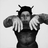 Scarred - 2009, Graphite and Charcoal on Canvas, 24 x 24 inches