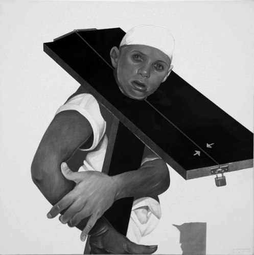 Stock - 2009, Graphite and Charcoal on Canvas, 24 x 24 inches