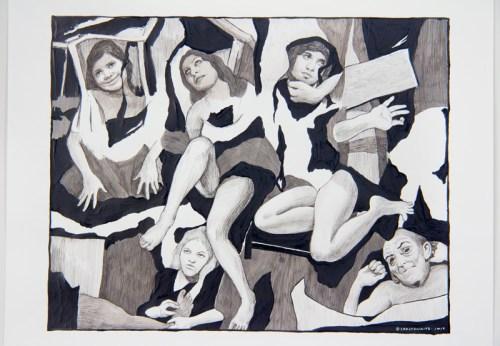 Hugo Crosthwaite - Untitled (Eusupio No.5), 2019, Ink wash and acrylic on paper, 14 x 17 inches