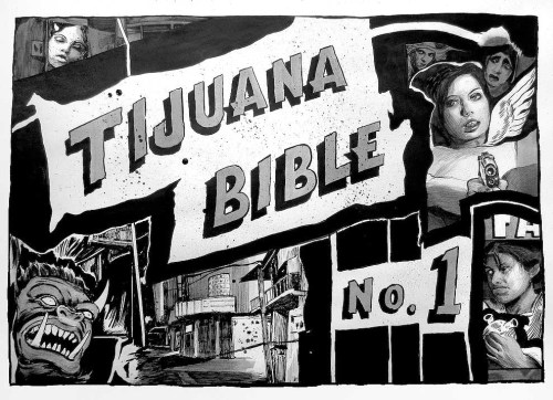 "Hugo Crosthwaite - ""Tijuana Bible, No.1"" Detail: cover page, Ink and wash on paper, 13 x 18 inches (closed)"