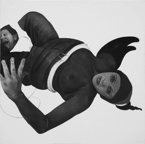 Winged - 2009, Graphite and Charcoal on Canvas, 24 x 24 inches