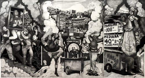 """Hugo Crosthwaite - Mural: """"La Apoteosis de un Taco,"""" 2021, Pencil, charcoal and acrylic paint on Museum Board, 120 x 224 inches overall (305 x 569 cm) (21 panels, 40 x 32 ins each panel)  """"The twenty-one panel mural La Apoteosis de un Taco, 2021 (The Apotheosis of a Taco) presents a riotous procession of bodies and Tijuana cityscapes in graphite, charcoal, and acrylic paint on Museum Board.  The symmetrical composition depicts an unassuming taco, honored, worshipped and surrounded by entangled and variously compromised figures, intermixed with scenes of vernacular street life, religious processions, cityscapes, and taco stands spiked with found poetry in the form of fragmented hand-painted signs.  It is a riff on Jean-Auguste-Dominique Ingres' grand 1827 painting The Apotheosis of Homer.  The mural fuses tender, playful, audacious, and grotesque characters placed as a chorus honoring the allegorical figure of a taco, which stands as a narrative point for the fertile disjunctions of Tijuana's social and physical landscape with the figure of death as ever-present, in the tragi-comedy of the border city's life.""""    –Hugo Crosthwaite"""